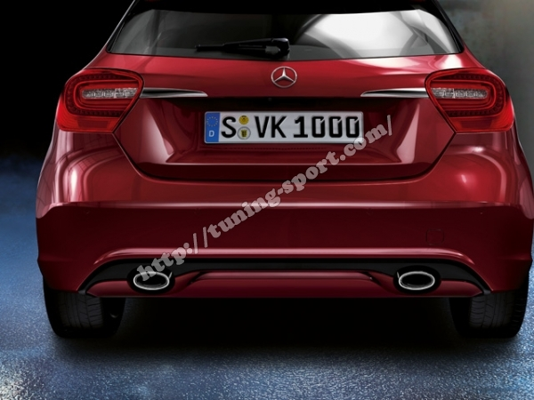 Diffuser Look Rear Apron Trim 2 Pipe For Mercedes A Class